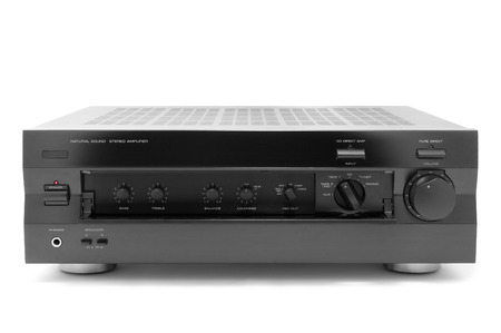 audiophile: HI-FI high-power audio amplifier with open cover. Isolated.