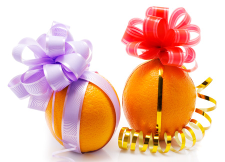 fanny: Two fanny oranges. Isolated. Stock Photo