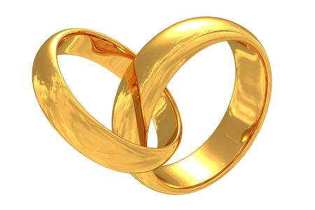 Gold wedding rings with reflection of a sky. Isolated.