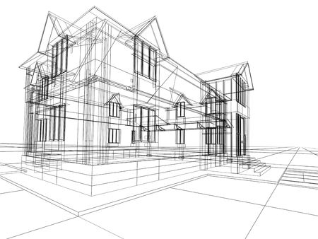 3D rendering wire-frame of house. White background. Stock Photo