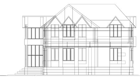 Sketch of house. White background. photo