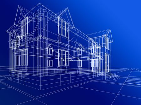 3D rendering wire-frame of house. Blue background.