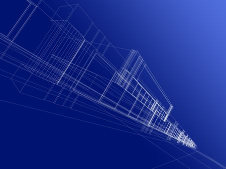 3D rendering wireframe of office building, white background. Concept - modern architecture, designing. Stock Photo - 1986627