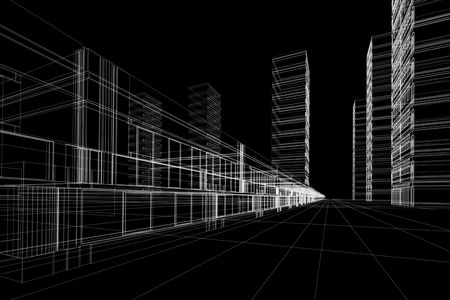 3D rendering wireframe of office buildings, black background. Concept - modern city, modern architecture and designing. Stock Photo - 2021946