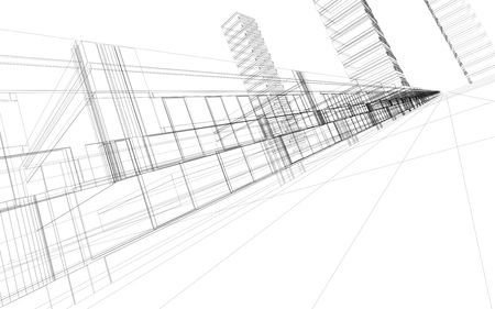 3D rendering wireframe of office buildings, white background. Concept - modern city, modern architecture and designing.