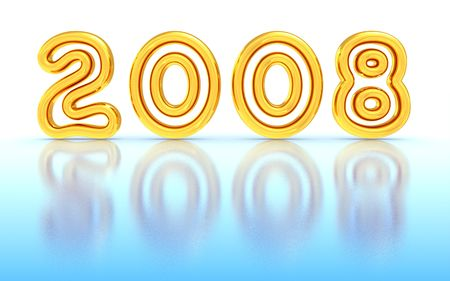 Gold New Year 2008 on ice. 3D rendered image. photo