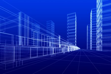 3D rendering wireframe of office buildings, blue background. Concept - modern city, modern architecture and designing.