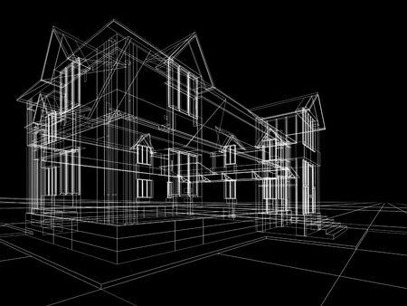 3D rendering wire-frame of house. Black background. Stock Photo