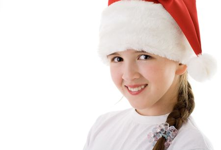 Christmas teenager girl. Isolated on white photo
