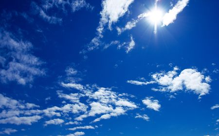sun and beautiful clouds on blue sky Stock Photo - 2770421