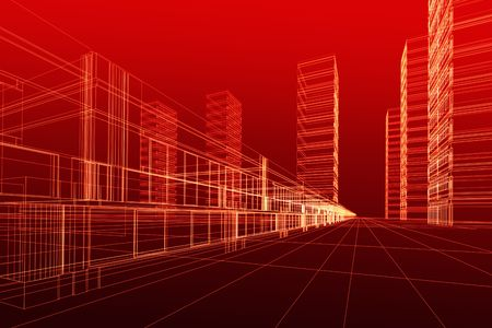 Abstract 3D construction of office building, red background. Concept - modern city, modern architecture and designing