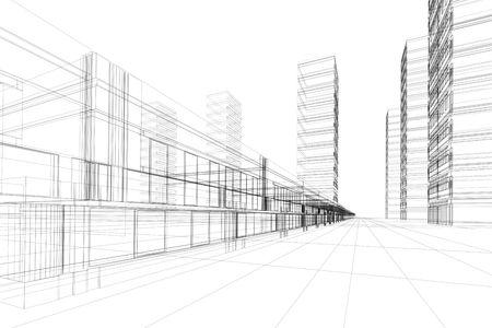 Construcción abstracta 3D del edificio de oficinas, fondo blanco. Concepto - ciudad moderna, arquitectura moderna y el diseñar