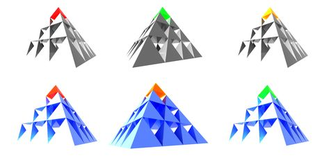 Abstract pyramids with color top. Concepts: leadership, different, individuality, and success. photo
