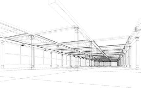 추상 아키텍처 3D 건설입니다. 개념 - 현대 아키텍처 및 디자인입니다.