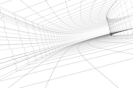 bent highway: Abstract 3D construction of tonnel. Concept - modern architecture.