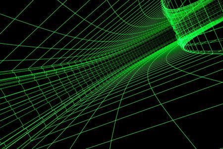 3D abstract green tunnel. Conception Traffic and Speed.
