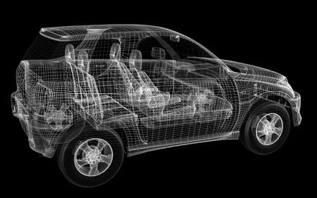3D design of car on black. Concept modern car