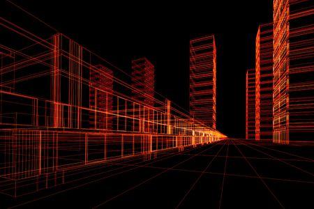 추상 건축 3D 건설입니다. 개념 - 현대 건축 및 디자인 스톡 콘텐츠