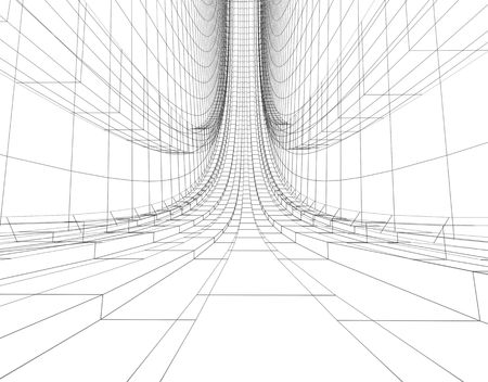 abstract futuristic architectural wireframe construction