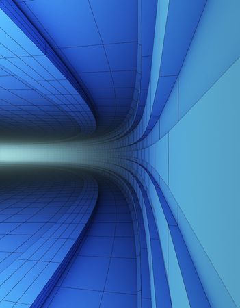 3d abstract blue architectural construction Standard-Bild