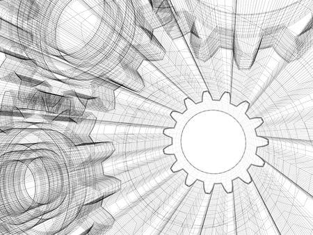 background industrial design. 3d wire-frame illustration.