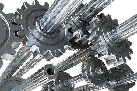 machine parts: Abstract mechanism. 3D illustration.