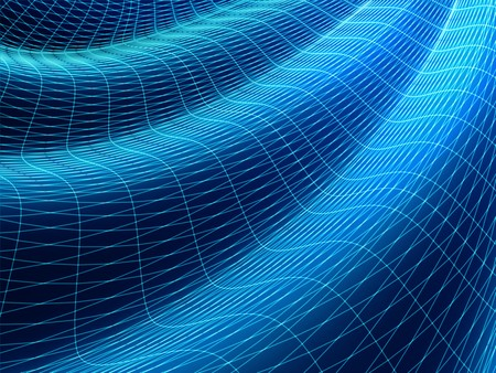 undulating: Abstract wavy wire-frame surface. 3D illustration. Stock Photo