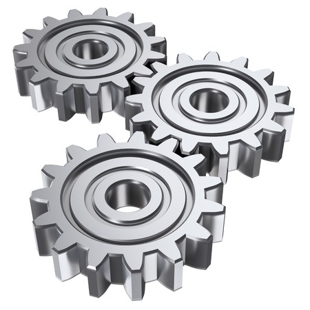 pinion: Isolated astract gears. 3D illustration. Stock Photo