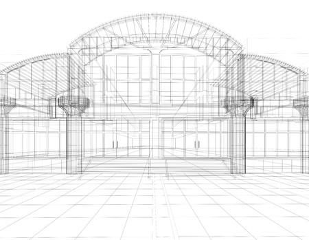 사무실 건물의 3D 스케치