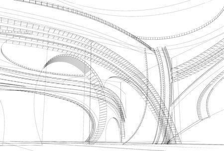 현대적인 인테리어의 추상 3D 디자인입니다. 와이어 프레임 그림