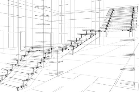 Abstract sketch of office design