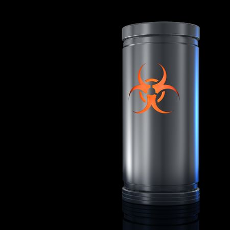 Container with biological danger substance and Biohazard sign. Isolated on black. Stock Photo - 6087906