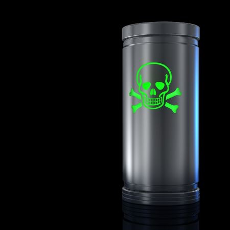 Container with toxic substance and Toxic sign. Isolated on black. Stock Photo - 6087904