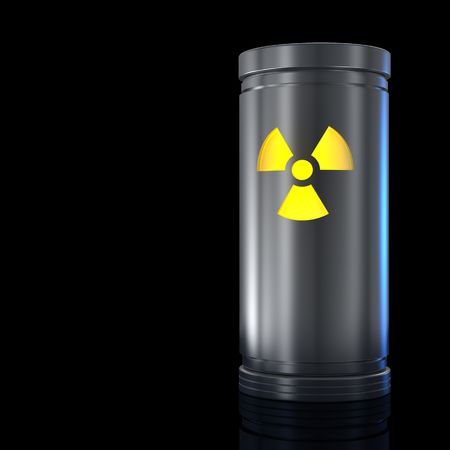 Container with radioactive material and Radiation sign. Isolated on black. photo