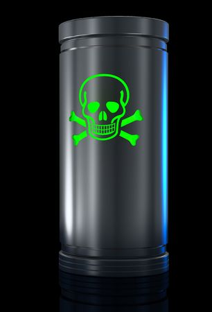 Container with toxic substance and Toxic sign. Isolated on black. Stock Photo - 6350374