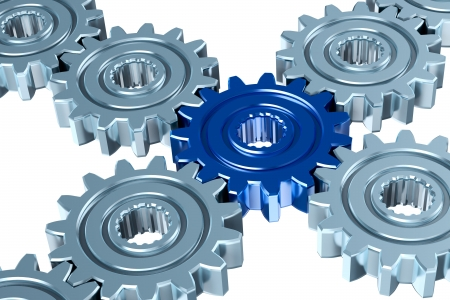 Gears with connective element. Communication concept. photo