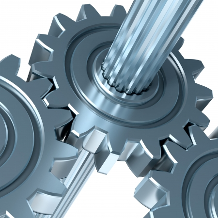 industrial machinery: Abstract mechanism. Concept of communication, support and interaction.