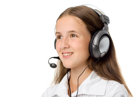 Support phone operator in headset. Isolated on white photo