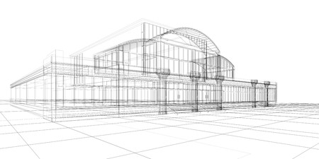 3D sketch of office building photo