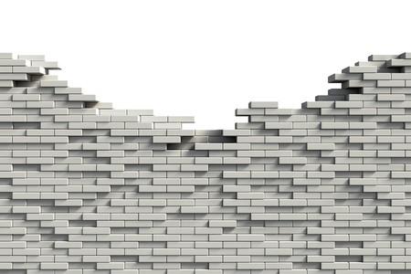muro rotto: Muro di mattoni bianchi incompleta  Archivio Fotografico