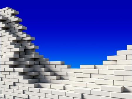 destroyed: Unvollst�ndige wei�en Mauer auf blauem Hintergrund