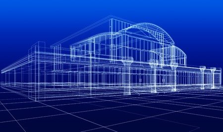 wireframe: 3D sketch of office building