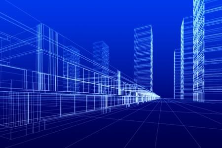 파란색 배경에 사무실 건물의 3D 렌더링합니다. 개념 - 현대 도시와 현대 건축입니다.