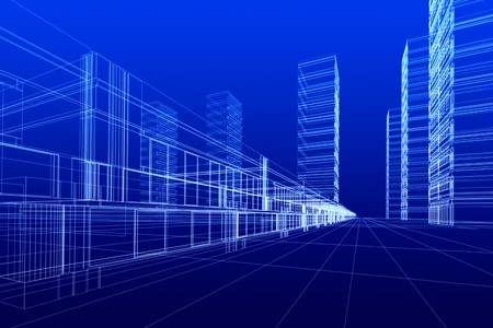 schematic: 3D rendering of office buildings on blue background. Concept - modern city and modern architecture. Stock Photo