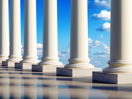 Aerial ancient columns in the clouds. 3D illustration.