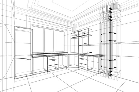 abstract sketch design interior of kitchen Stok Fotoğraf