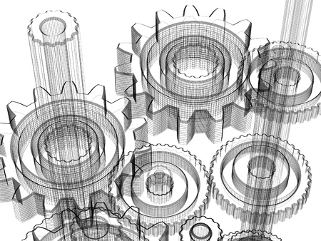 Background gears industrial design. Conceptual 3d wire-frame illustration. Standard-Bild