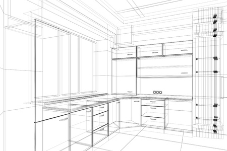abstract design sketch of kitchen interior Standard-Bild