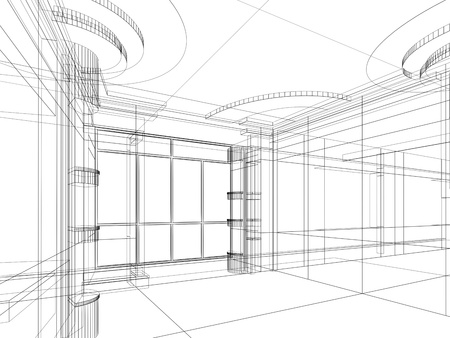 abstract design sketch of modern office interior Stok Fotoğraf