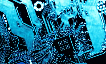 blue computer circuit board background Stock Photo - 9366381